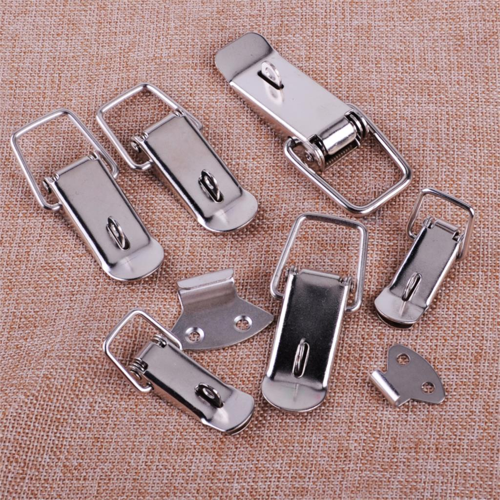4Pcs L Metal Iron Toggle Catch Latch Hardware Cabinet Boxes Spring Toolbox Stainless Steel Accessories