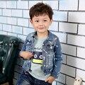 Novo Item da Chegada Do Bebê Meninos Moda Jaqueta Jeans Meninos Barba Curta-estilo-impressão Denim Outerwear Casaco Denim Criança casaco