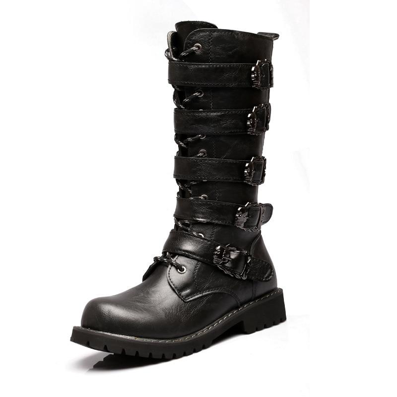 Militaires Boots Martin Black Militaire Bottes Chaussures Pu Hommes Punk Longues Gothique Bout Rond Rivet Bullet En Moto Travail Cuir De oerdxQEBWC