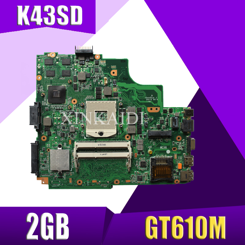 XinKaidi   K43SD laptop Motherboard For ASUS A43S K43S A84S K43SD Mainboard 100% OK  HM65 GT610M 2GBXinKaidi   K43SD laptop Motherboard For ASUS A43S K43S A84S K43SD Mainboard 100% OK  HM65 GT610M 2GB