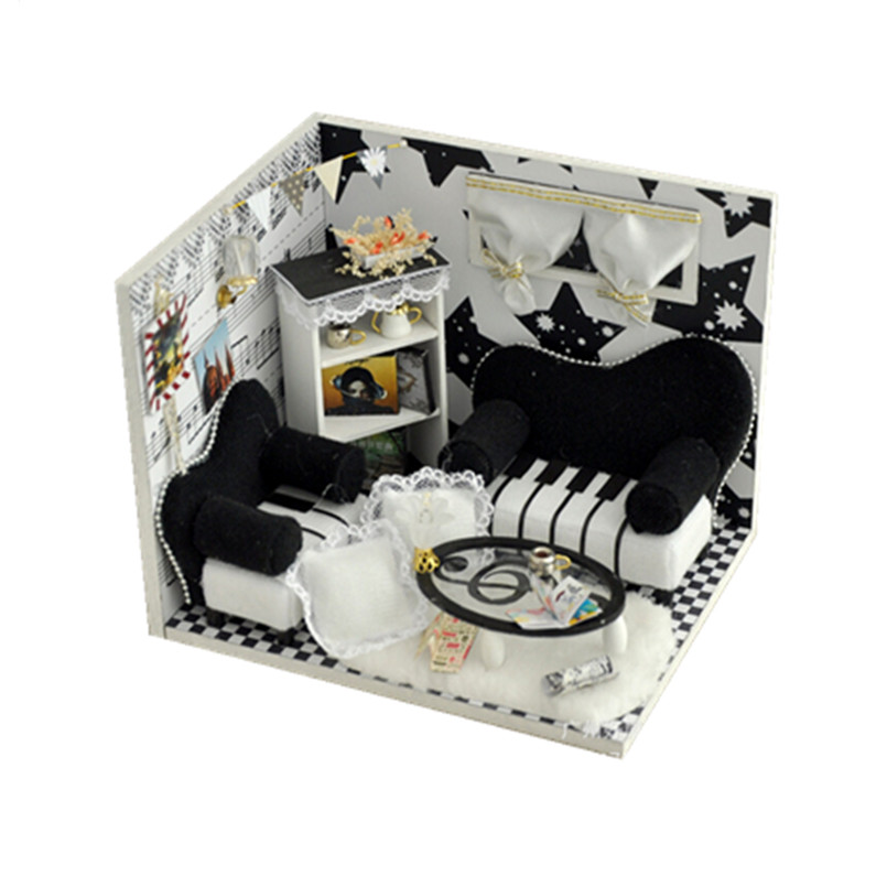 Miniatures Wood Doll Houses with Tiny Furniture DIY Dollhouse Kits Toys for Child's Gift,Music Notes Miniatura Doll's House 1 12 dollhouse miniatures furniture re ment refrigerator hearth integral kitchen lampblack machine