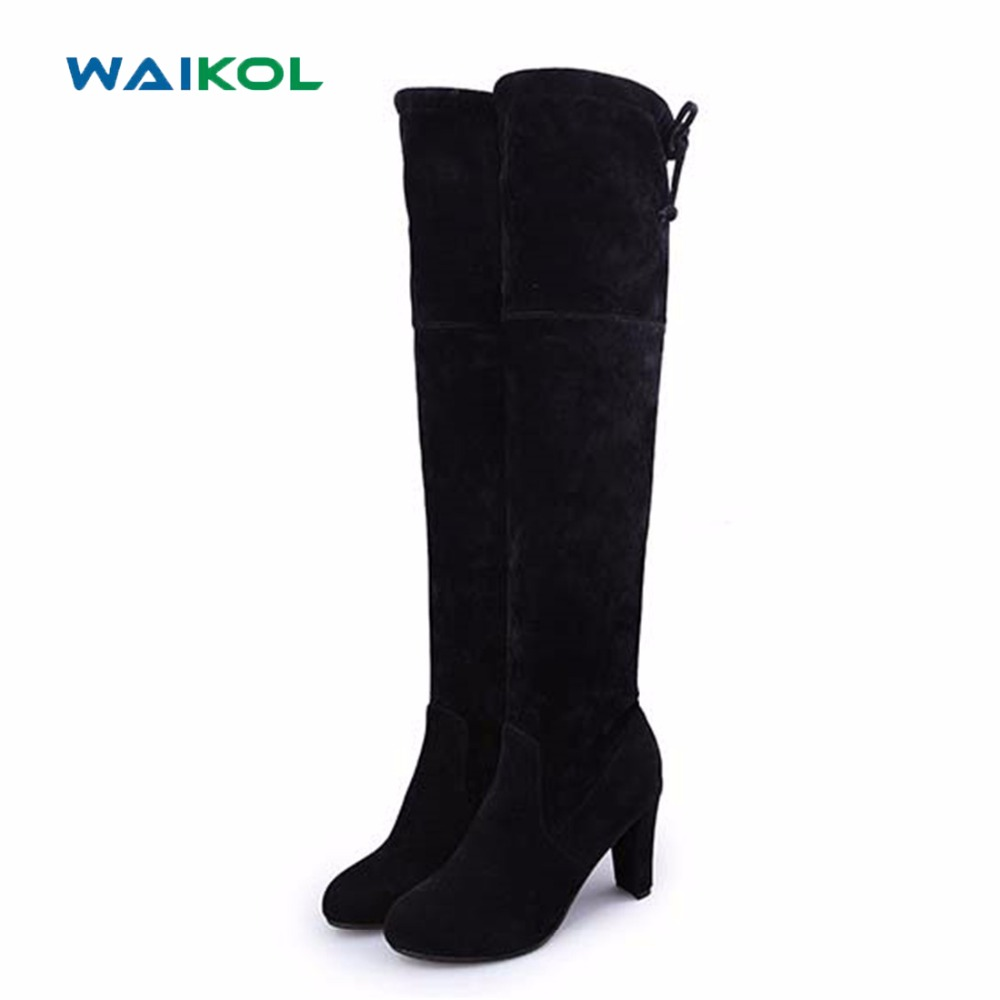 Waikol Women Boots Sexy Overknee High Heels Faux Suede Chunky Thigh High Boots Stretch Over the Knee Boots Woman Shoes Plus Size 2017 runway fashion black sock boots star chunky high heels over the knee boots shoes woman open toe thigh high boots plus size