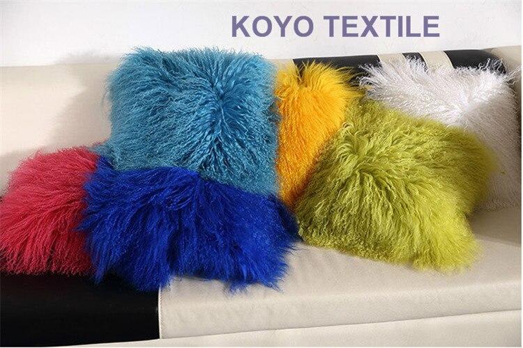 Moderne luxueux décoratif bleu rose vert jaune 100% laine N peluche grand Animal fourrure oreiller canapé fourrure coussin housse taie d'oreiller