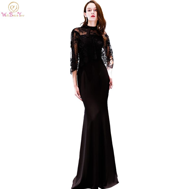 Black Evening Dresses with Jacket Robe De Soiree Lace Spandex High Neck Women Mermaid High Neck Prom Gowns Long Formal Dress