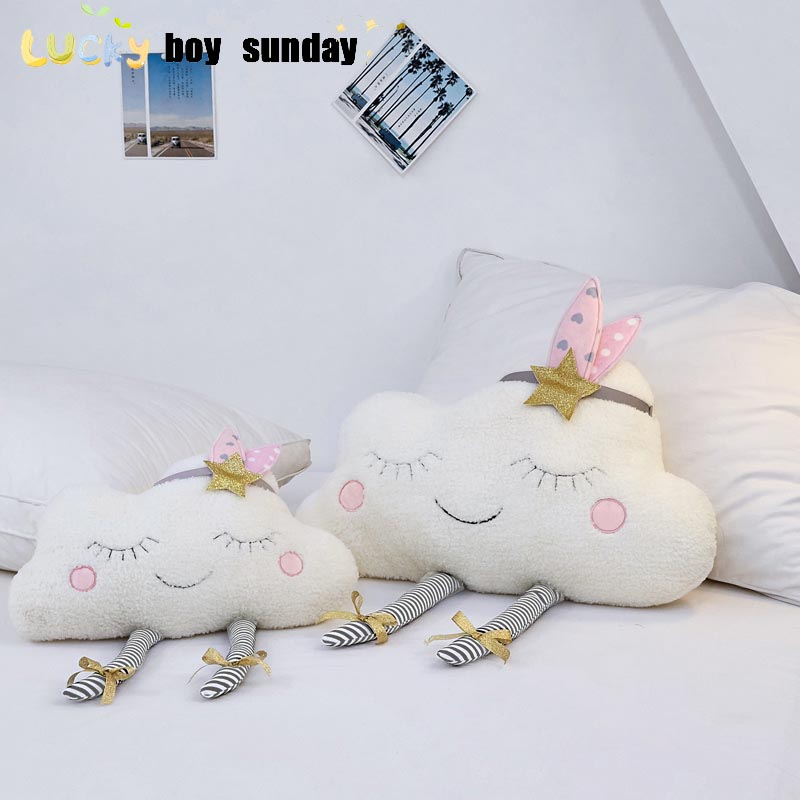 Lucky Boy Sunday New Ins Cloud Plush Pillow Soft Cushion Kawaii Cloud Stuffed Plush Toys For Children Baby Kids Pillow Girl Gift