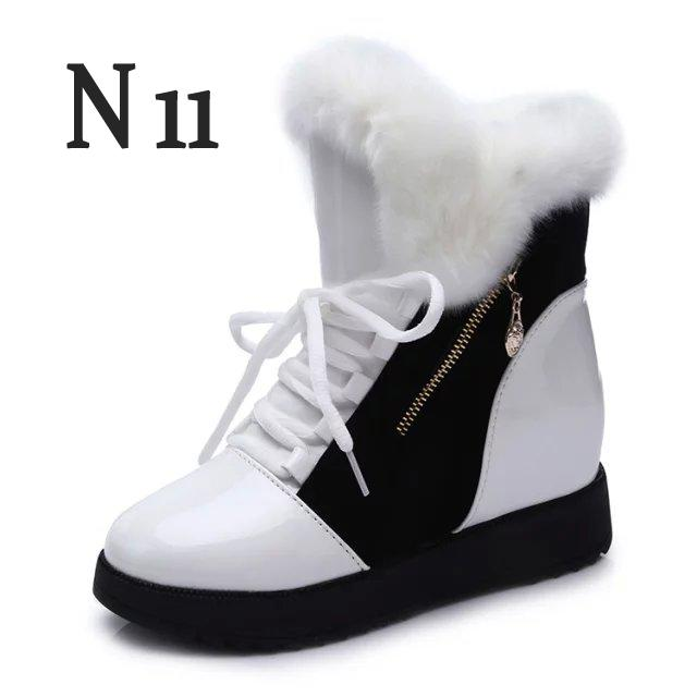 N11 Winter Women Boots Warm Faux Fur Waterproof Snow Boots Women Winter Fashion Ankle Boots Big Size 35-40 warm faux fur waterproof snow boots women winter fashion ladies high boots big size black brown red orange color dropshipping
