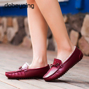Image 5 - Winter Fur Women Loafers Slip on Leather Ladies Flats Warm Plush Driving Boat Shoes Woman Moccasins New Casual Female Solid Shoe