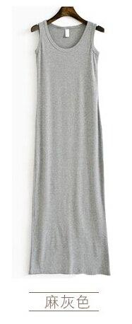 Новое поступление, весенне-летнее однотонное хлопковое повседневное длинное платье без рукавов, женское приталенное платье в пол с круглым вырезом, женское платье-жилет - Цвет: gray