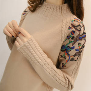 2019 female half turtleneck sweater female sleeve head embroidery twist loose all-match long sleeved bottoming sweaters