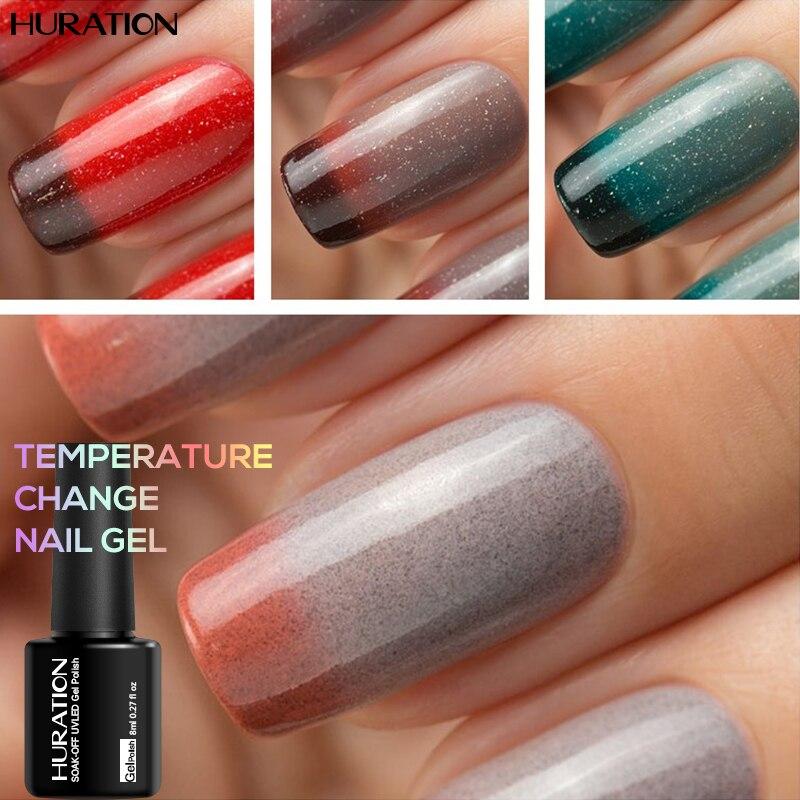 Huration 29 Цвет УФ 8 мл Хамелеон Температура изменить гель для ногтей Лаки выдерживает-светодиодные лампы Lak УФ Гвозди гель лак