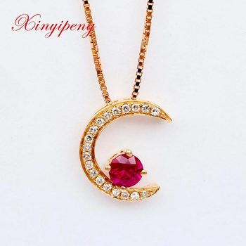 Xin yi peng 18 k rose gold natural ruby pendant with a diamond pendant woman fashion valentine's day gift