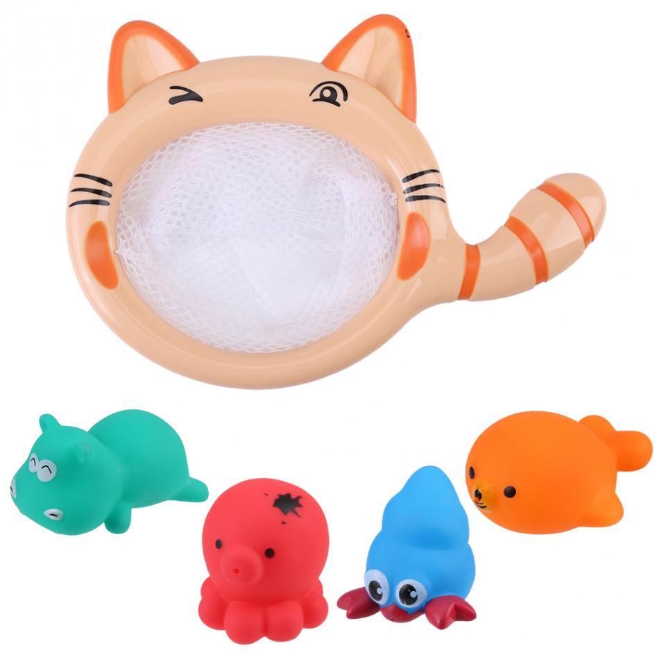 Baby Bath Toy Sets Summer Baby Cute Cartoon Animals Bathing Swimming Pool Float Bath Toy Sets Pick Up Fish Funny Play Water Toys