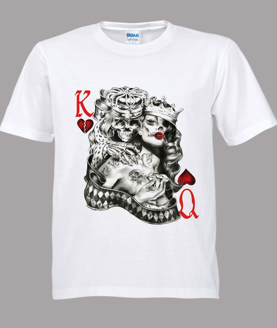 cf8cc05477a37 King & Queen Of Hearts Tattoo Sugar Skull Poker Playing Card White T-Shirt S