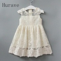 2017 Summer Dress Girl New Evening Girls Lace Dress Children Hollow Out Baby Girls Dresses For