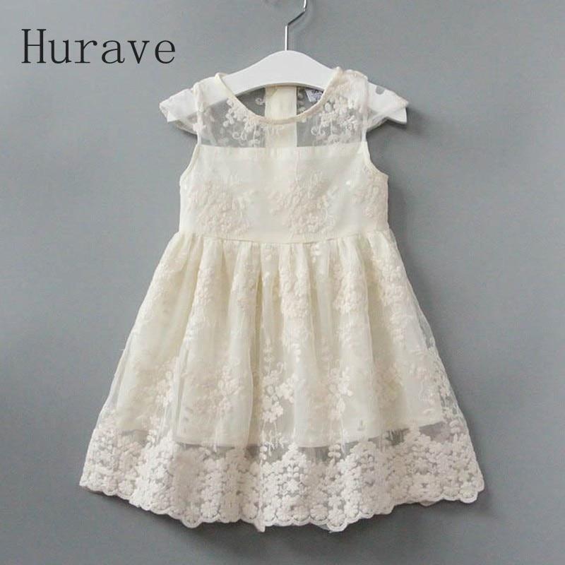 Hurave 2017 Summer Dress Girl New Evening Girls Lace Dress Children Hollow Out Baby Girls Dresses