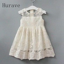 Hurave 2017 Summer Dress Girl New Evening Girls Lace Dress Children Hollow Out Baby Girls Dresses For Party And Wedding O-Neck