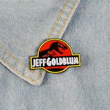 Nouveau JEFF GOLD BLUM dinosaure squelette Protection éteint Animal broche personnalité mode ronde lettre Badge Denim vêtements Penda(China)
