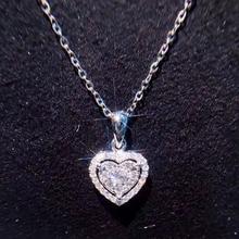 ANI 18K White Gold (AU750) Wedding Heart Shape Pendant 0.228 ct I-J/SI Certificate Real Natural Diamond Women Chain Necklace