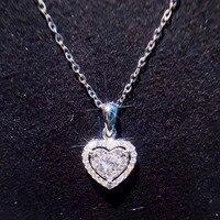 ANI 18K White Gold (AU750) Wedding Heart Shape Pendant 0.228 ct I J/SI Certificate Real Natural Diamond Women Chain Necklace