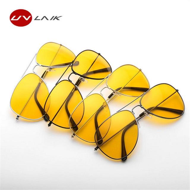 UVLAIK Fahrerbrille Nacht Fahren Sonnenbrille Männer Frauen UV400 Schattierungen Pilot Sonnenbrille Männlich-weibliche Nachtsicht Goggle Sonnenbrille (Schwarz) Nuoc9w