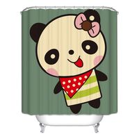 Decor Collection Row Of Hungry Dogs Cat Dog Wolf Panda Art Polyester Fabric Bathroom Shower Curtain