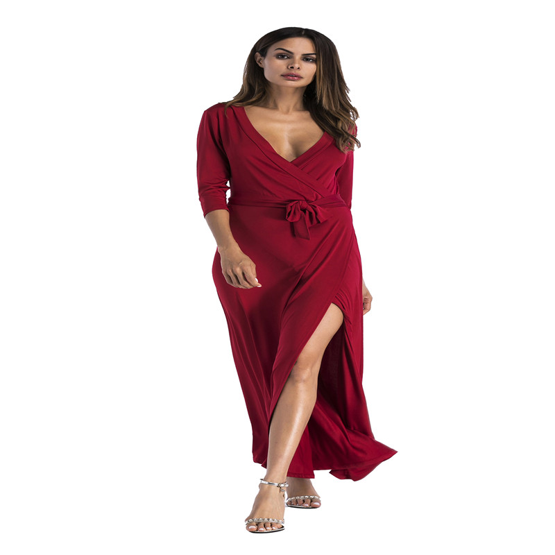 Spring and autumn hot new European and American fashion personality temperament Slim sexy v neck solid color female dress in Dresses from Women 39 s Clothing
