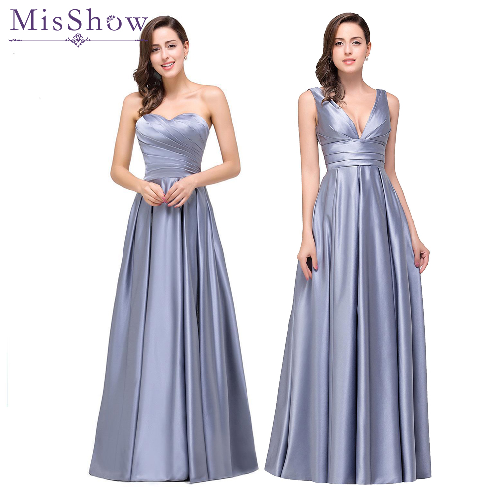 [Final Clear out] Robe De Soiree Longue Sexy Backless Gray A line Satin Evening Dress 2018 Long Cheap Satin Formal Evening Gown