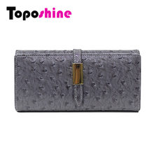 Toposhine Ostrich Fashion Women Wallets Solid Color Wallet ID Fashion Card Holder Coin Purse Girls Clutch Hot Women Wallets 3307