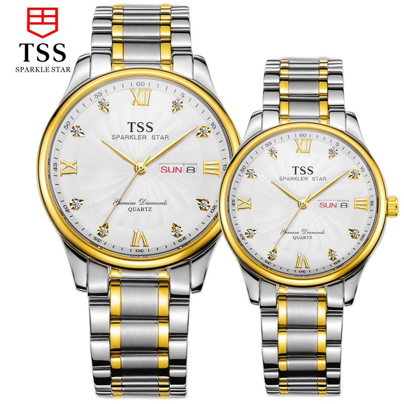 TSS master collection lover quartz watch ultra-thin waterproof watch fashion Korean fashion couple watches stainless steel master series trine steel c ring collection package of 4