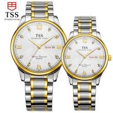 TSS master collection reloj del amante de cuarzo ultra-delgado impermeable reloj de moda de Corea pareja de moda relojes de acero inoxidable