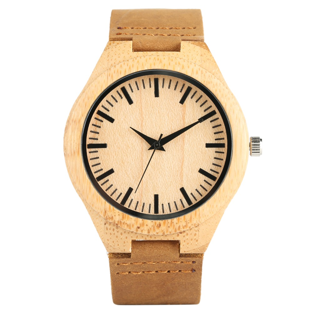 Men's Bamboo Quartz Wristwatch Handmade Leather Strap Bamboo Men Women Watch Casual Bamboo Wristwatch Yellow Color Fashion Gifts creative rectangle dial wood watch natural handmade light bamboo fashion men women casual quartz wristwatch genuine leather gift