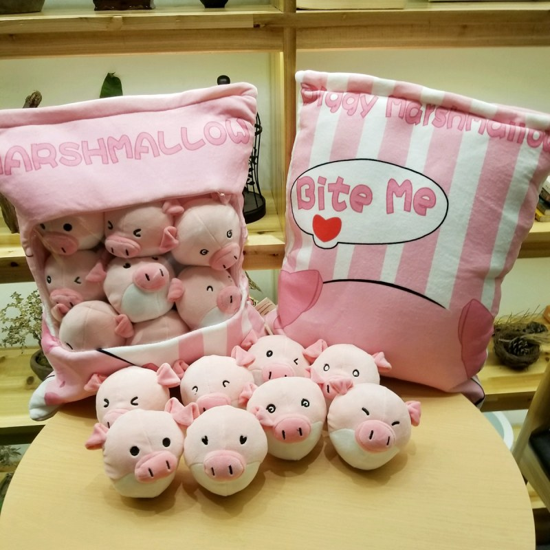 1pc 50cm cartoon lovely expression pig soft plush pillow cushion eight little round doll stuffed toy girl boy creative gift