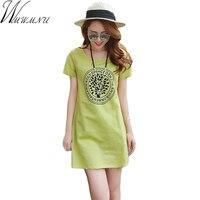 Wmwmnu New Summer Short Sleeve Pure Color Dress Causal Cotton Women Dresses Comfortable Plus Size 3XL