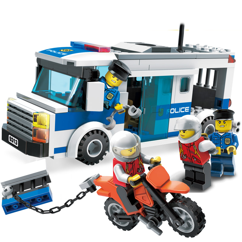 204Pcs Children Educational Blocks Toys City Police car Blocks Toys Assembled Building DIY Toys for Kids compatible with blocks city series police car motorcycle building blocks policeman models toys for children boy gifts compatible with legoeinglys 26014