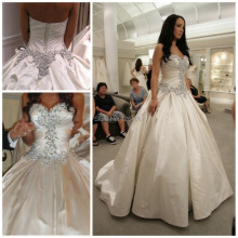 srui sker Princess Crystal Rhinestones Wedding Dress Puffy