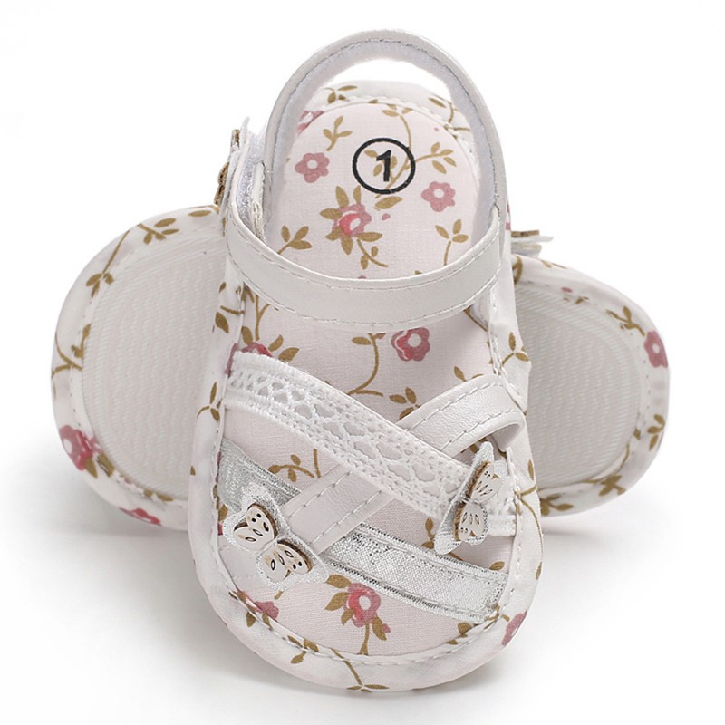 Infant Baby Sandals Shoes Flower Printing Baby Girls Sandals Soft Sole Indoor Baby Crib Shoes Nonslip Sandal
