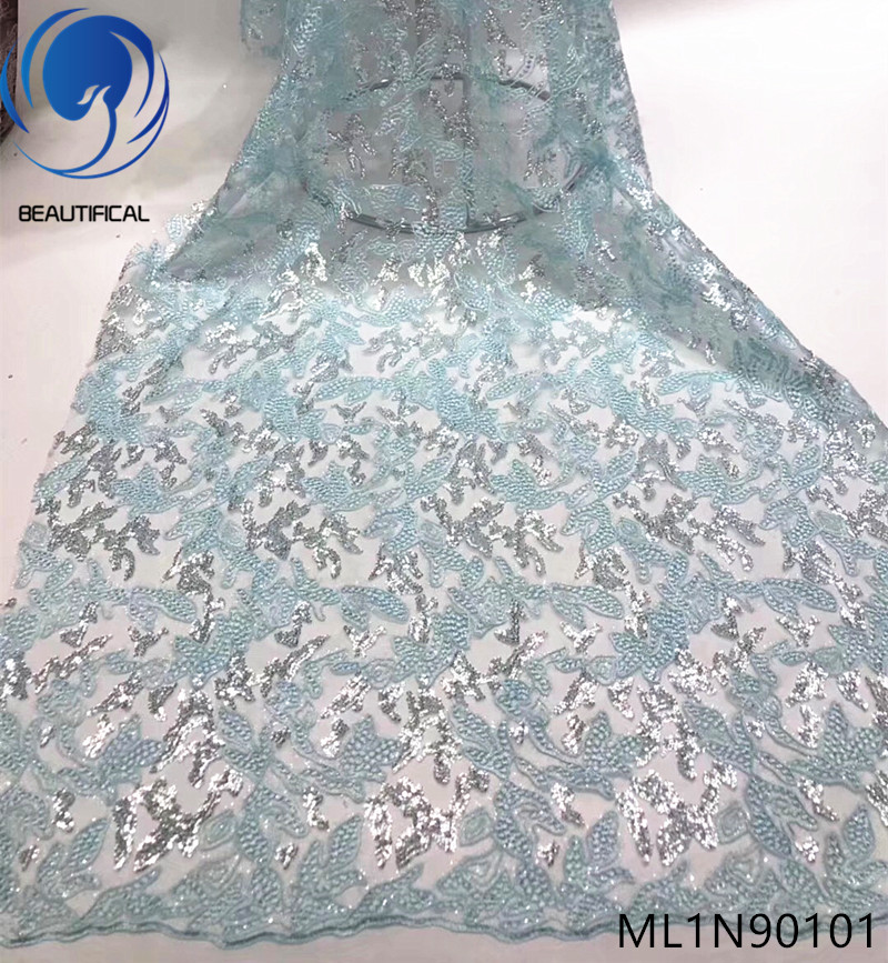 Beautifical african lace fabrics Fashion style nigerian net lace embroidery french lace with sequins fabric 5yards ML1N901Beautifical african lace fabrics Fashion style nigerian net lace embroidery french lace with sequins fabric 5yards ML1N901