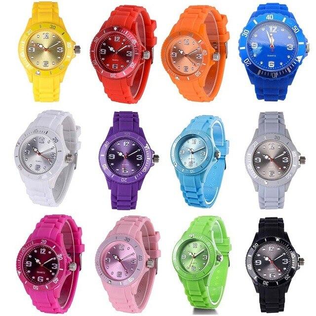Fashion Children Watches 50M Waterproof Quartz Wristwatches Jelly Kids Clock Hou