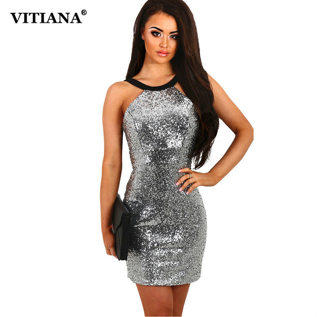 Sexy Club Party Mini Dresses Brand Women Sequins Halter Backless Short Dress  Silver Paillette Bodycon Slim Clothing Vestidos 377fb665fb24