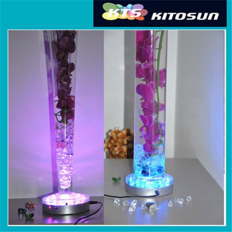 KITOSUN Rechargeable Multicolors RGB LED 6inch Under Vase LED Light Base with Remote Controller for Wedding Decoration