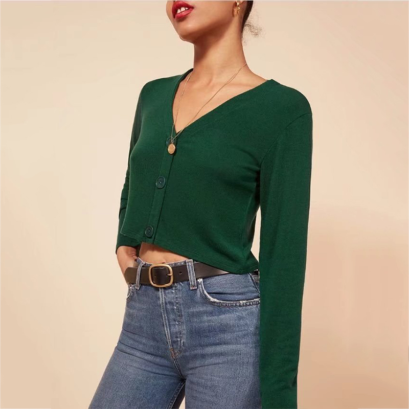 2019 Spring Summer Women Autumn Fashion Women Draw-string Cardigans with Buttons Deep V Neck Crop Knit Jumpers 5 Colors