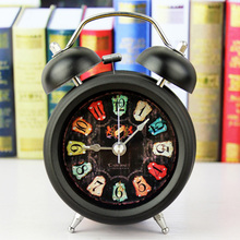European Retro Style 3D Metal Bell Alarm Clock Minimalist Desktop Clocks Lazy Watch Clock Home Mini Clock