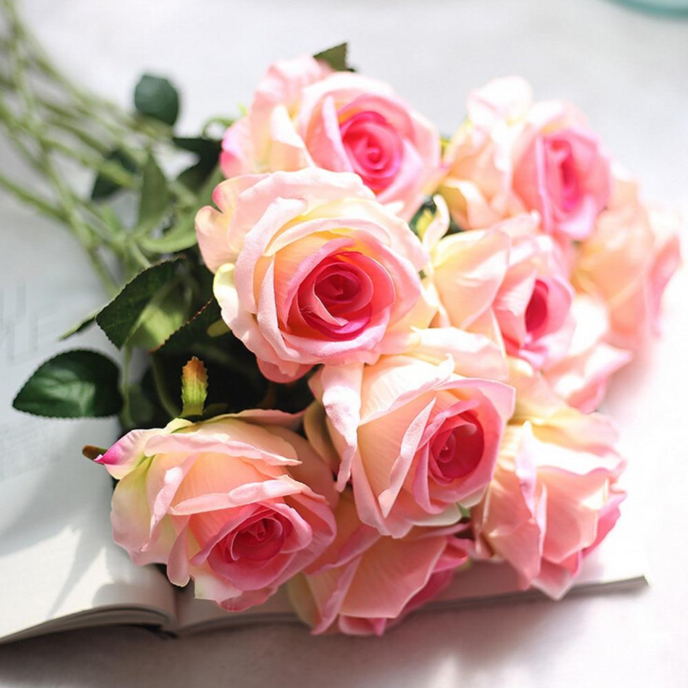 Artificial silk 5 Pcs French Rose Floral Bouquet Fake Flower Arrange Table Daisy Wedding Flowers Decor Party accessory Flores