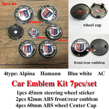 7Pcs Kit Alpina Front Hood Logo Rear Trunk Label Steer Wheel Badge Wheel Hub Cap Head Bonnet Cover Boot Emblem 82mm 60mm 45mm