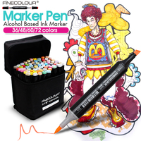Bianyo 72 Colors Sketch Markers Animation Pens Set For School Student Finecolour Design Draw Paint Brush
