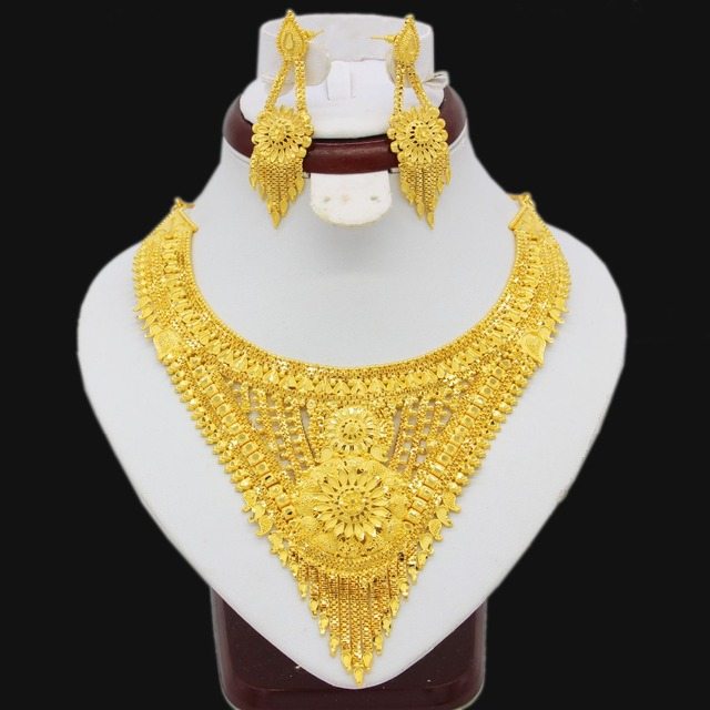 Fashion Dubai Necklace Earrings Jewelry Set For Women Girls Gold Color Elegant Arab/Ethiopian Wedding/Party Gifts