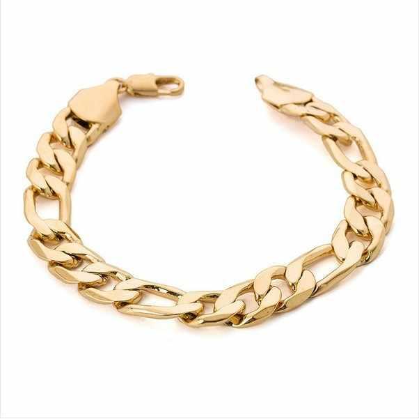 Тяжелый широкий Figaro золотой браслет мужской 12 мм 21 см 18kgp золотой  цвет большой толстый браслет c7cdd9378e6