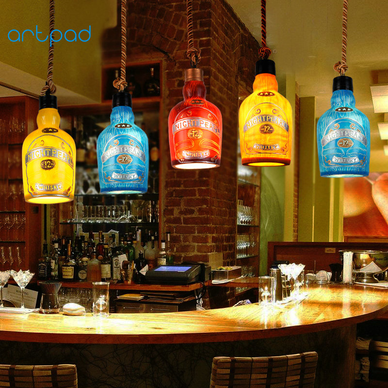 Artpad Bohemia Style Multi Color Bottle Pendant Light Resin Lampshade Vintage Rope Bar Lamp For Indoor Lighting Fixtures браслеты bohemia style браслет