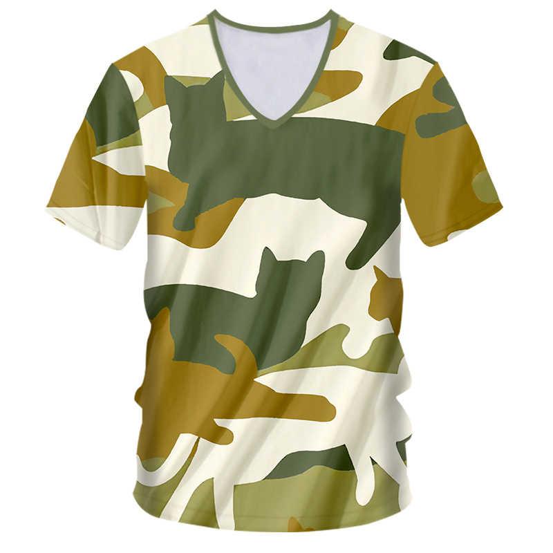 OGKB футболка глубокий v-образный вырез большой размер Досуг 3D футболки принт камуфляж кот хип хоп Большие размеры Habiliment мужские футболки