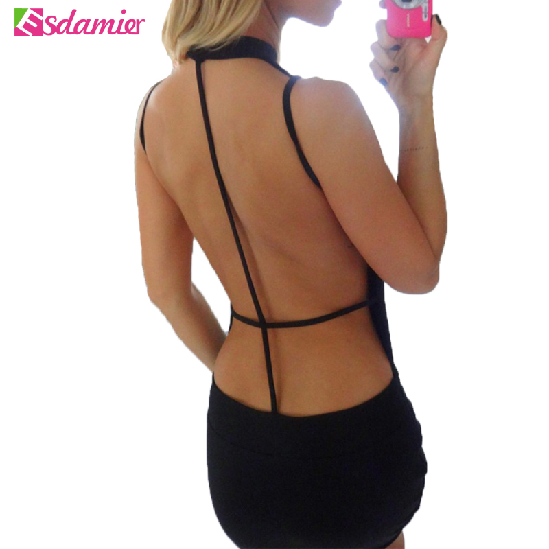 Black Backless Dress Sexy Womens Night Party Club Dresses Back Open Bandage Dress Slim Clubwear Bodycon Dress For Women